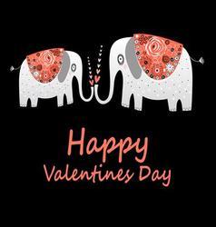 Beautiful love elephants greet vector image