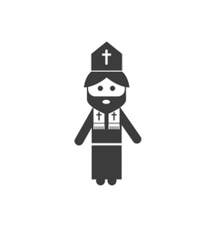 Flat icon in black and white style priest vector