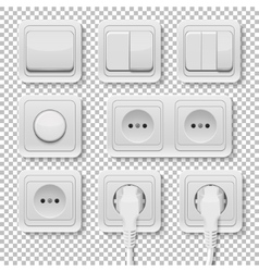 Power sockets and switches set vector