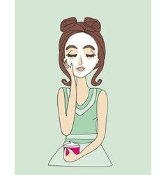beautiful girl applying cream vector image