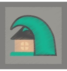 Flat shading style icon tsunami house vector