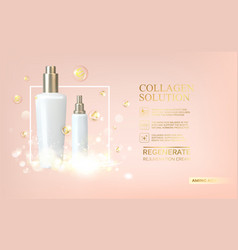 bottle of cosmetic lotion and jar of cream vector image