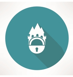 castle and locking icon vector image