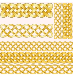 Celtic braids set with seamless patterns for vector image vector image