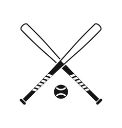 Crossed baseball bats and ball icon simple style vector