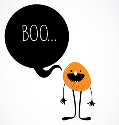 Cute monster with speech bubble vector