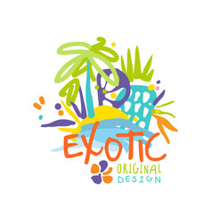 exotic travel company logo design vector image vector image