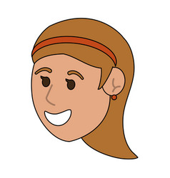 happy young women face cartoon vector image