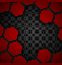 Hexagon metal background black and red background vector