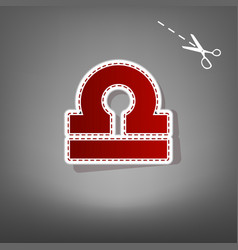 Libra sign red icon with for vector