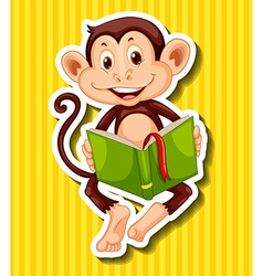 Little monkey reading storybook vector