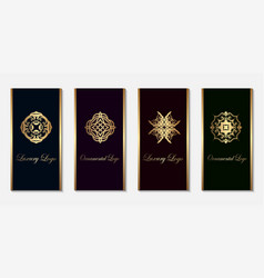 logo design templates set with golden gradient on vector image