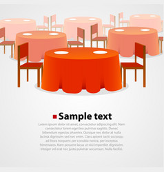 Many round tables with tablecloth and two chairs vector