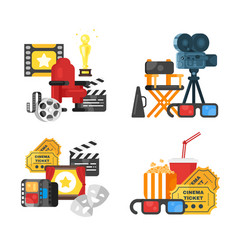 Movie design set of concept with cinema icons vector