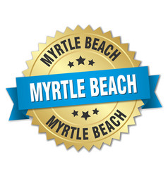 Myrtle beach round golden badge with blue ribbon vector