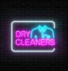 Neon dry cleaners glowing sign with shirt in vector