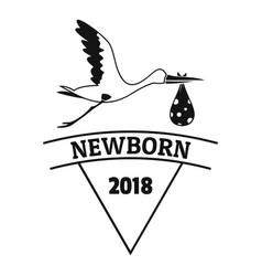 Newborn stork logo simple black style vector