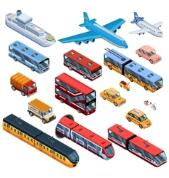 Passenger Transport Isometric Icons vector image vector image