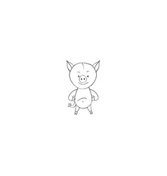 pig cartoon icon vector image