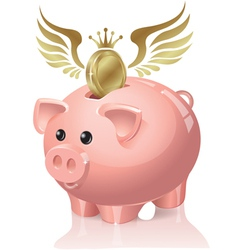 Piggy bank with coins flying vector