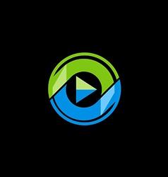 Play button media technology logo vector