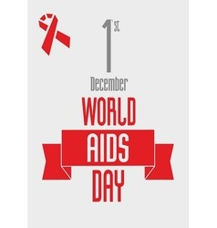 red ribbon - World AIDS Day design concept vector image vector image