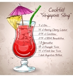 The singapore sling cocktail vector