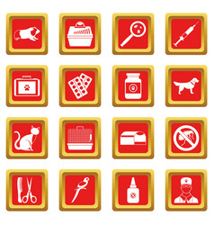 Veterinary icons set red vector