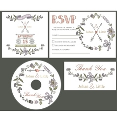 Vintage wedding design template set with flowers vector