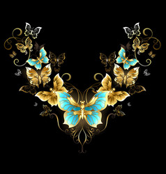 Symmetrical pattern of golden butterflies vector