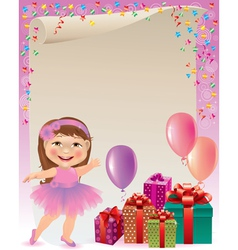 Pink birthday background vector