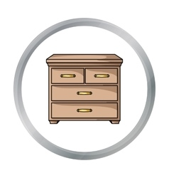 Wooden cabinet with drawers icon in cartoon style vector