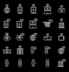 Fintech line icons on black background vector