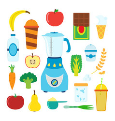 set of cartoon food for smoothie with blender vector image