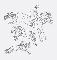 Jockey riding horse sport sketches vector