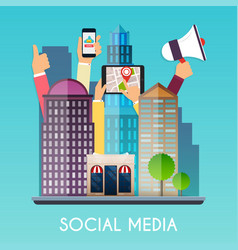 Social media and on devices in hands of city vector