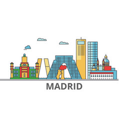 Madrid city skyline buildings streets vector