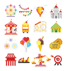 Set of amusement park fun icons vector