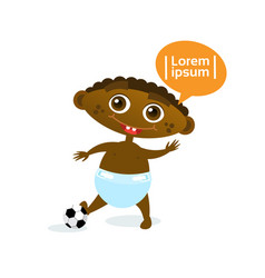 cute baby boy african american with football ball vector image
