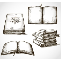 set of old books drawings vector image