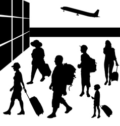 Silhouettes of people with baggage going to travel vector