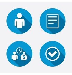 Bank loans icons fill document and get money vector