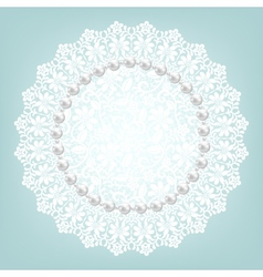 Fabric doily and pearls vector
