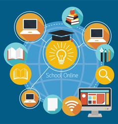 School online e-learning icons and objects vector