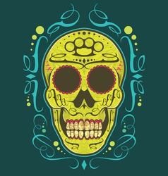 decorative skull color vector image