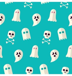 Flat seamless scary ghost and spirit halloween vector