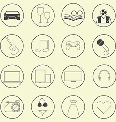 0208 entertainment icons set vector