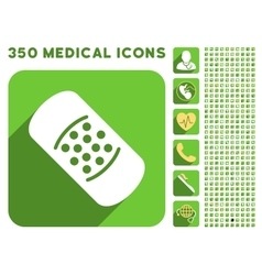 Patch icon and medical longshadow icon set vector