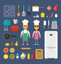 Kitchen appliances and food male and female vector