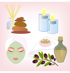 Beauty salon accessories olive oil soap face and b vector